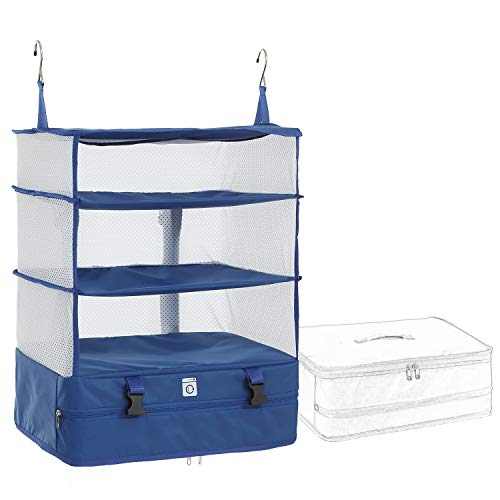 Elezay Packable Hanging Travel Shelves Packing Cube Organizer Navy
