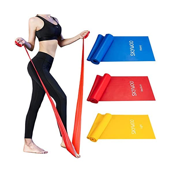 Skywoo Exercise Band Set, Resistance Bands Set Long Latex Elastic Bands Wide Fitness Resistance Bands for Pilates, Gym, Physical Therapy, Yoga, Strength Training