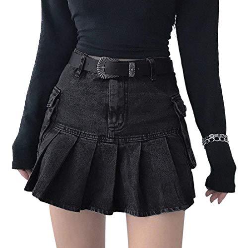 Dihope - Falda corta acampanada, falda de vaquero para mujer, talla alta, palisada, falda escolar, patiador, mini falda casual esquí, sexy Dress A-line falda escolar de tenis (negro)
