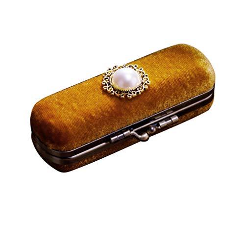 Cabilock sac de rangement pour organisateur de baume pour les lèvres de boîte de rouge à lèvres de velours durable avec mallette de rangement cosmétique durable avec miroir (chocolat)