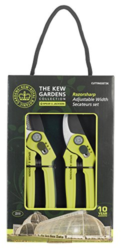 Spear and Jackson Kew Gardens Razorsharp Cutting, Set 3K Bypass and Anvil Secateurs Set, Green