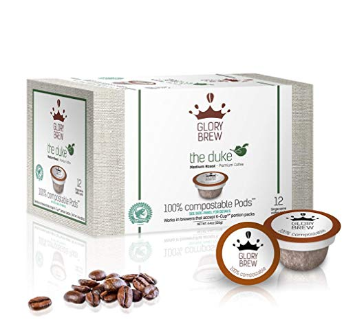 Glorybrew - The Duke - 36 Medium Roast Keurig Pods - 100% Compostable Coffee Pods for Keurig K-Cup Coffee Brewers - Rainforest Alliance certified   Better than Recyclable and Biodegradable Capsules