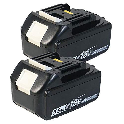 (Pack de 2) Batterie de Remplacement BL1850B 18V 5.5Ah Compatible avec pour Makita BL1850B BL1830B BL1840 BL1840B BL1850 BL1850B BL1860B BL1890 BL1815 BL1825 BL1835 BL18 avec Voyant Lumineux