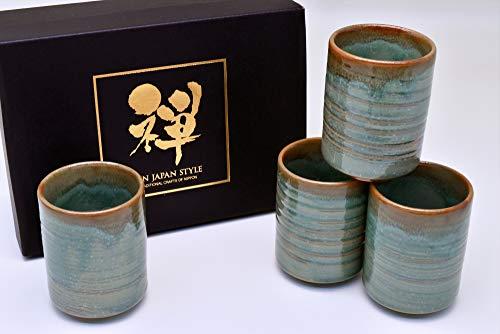 Yamakiikai L1211 Tazza da t/è giapponese Yunomi colore: verde motivo floreale