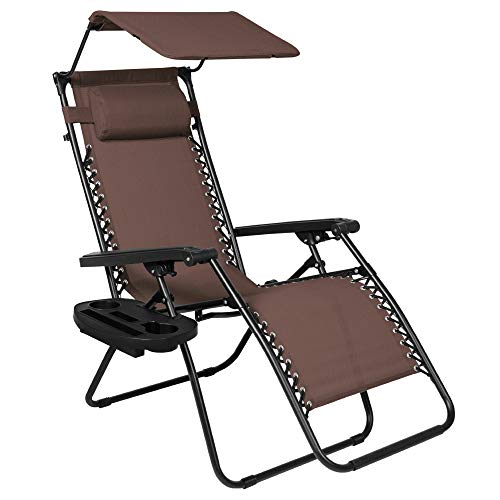 Best Choice Products Folding Steel Mesh Zero Gravity Recliner Lounge Chair w/Adjustable Canopy Shade and Cup Holder Accessory Tray, Brown