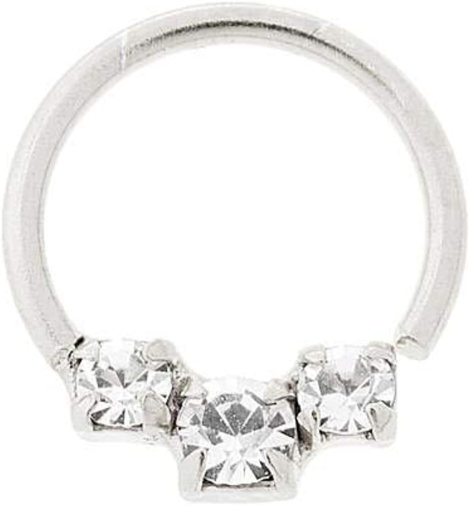 Claire's Girl's Sterling Silver 20G Spasm price Cartilage Hoop Crystal New arrival Earri
