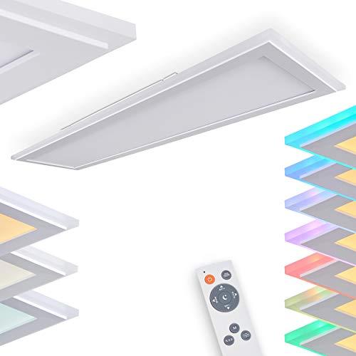 LED Deckenpanel Mota, dimmbares Panel aus Metall und Kunststoff in weiß, 1-flammige moderne Deckenleuchte mit Farbwechsler und Fernbedienung, 1 x LED 38 Watt, 2700-6500 Kelvin, max. 4000 Lumen