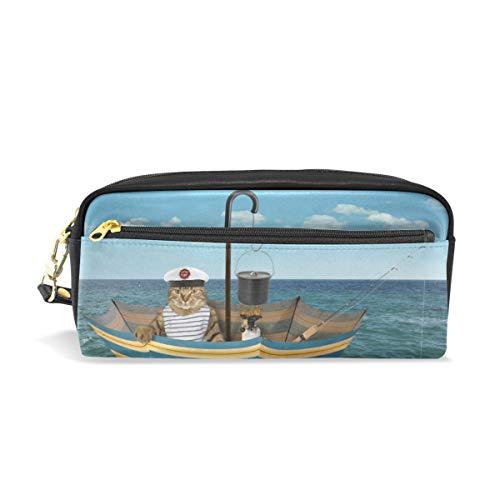 Estuche de piel sintética para lápices, diseño de gato marinero pescando en barco, bajo el cielo, multifunción, con cremallera, para niños, adolescentes, niñas, hombres, mujeres