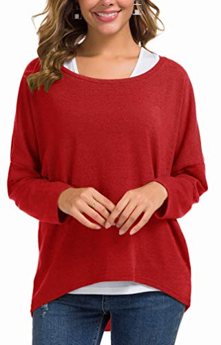 UGET Women's Sweater Casual Oversized Baggy Loose Fitting Shirts Batwing Sleeve Pullover Tops X-Large Red