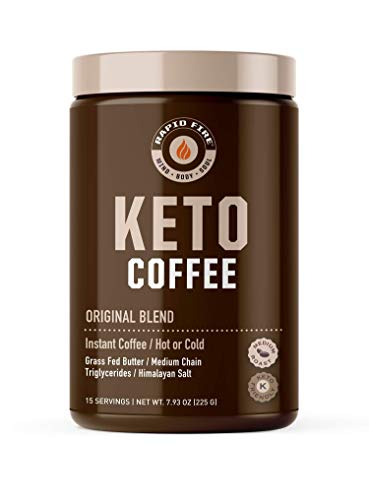 Rapidfire Ketogenic Fair Trade Instant Keto Coffee Mix Supports Energy Metabolism Weight Loss Ketogenic Diet Canister 15 servings, Original, 7.93 Ounce