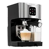 klarstein bellavita - macchina da caffè, per espresso, cappuccino e latte macchiato, montalatte da 0,4 l, 20 bar, serbatoio da 1,4 l, argento
