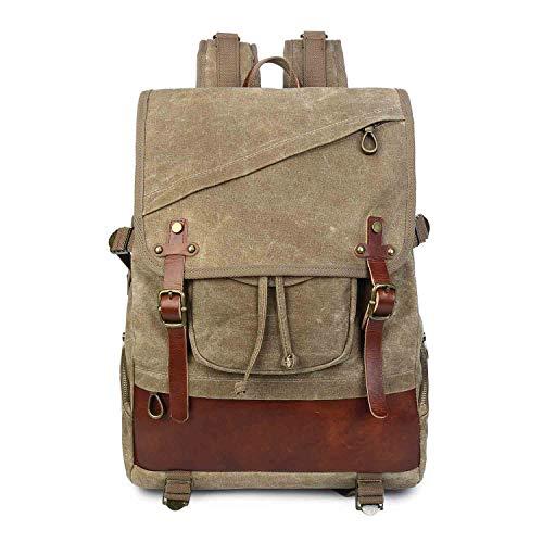 Neuleben Vintage Rucksack Damen Herren Wasserdicht gewachst Canvas Rucksäcke Daypack Backpack Reiserucksack für Uni Reise Outdoor (Braun)