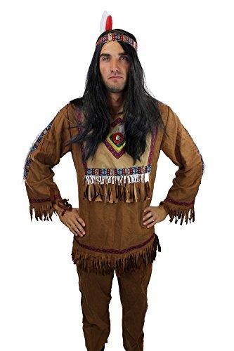 DRESS ME UP - L030/48 Disfraz de India casique hombres pluma talla S