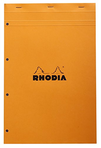 Rhodia Head Stapled Pad, No20 A4+, 4 Hole Punched, Square Ruling - Orange
