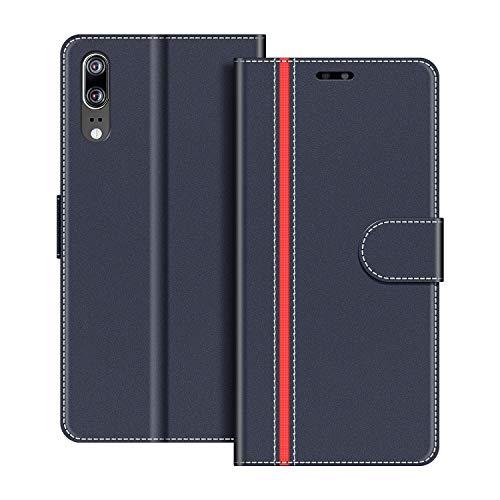 COODIO Handyhülle für Huawei P20 Handy Hülle, Huawei P20 Hülle Leder Handytasche für Huawei P20 Klapphülle Tasche, Dunkel Blau/Rot