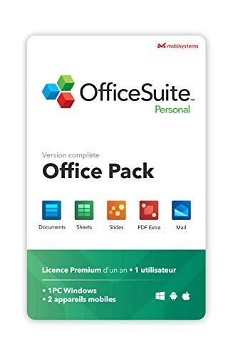OfficeSuite Personal - compatible avec Microsoft® Office Word®, Excel®, PowerPoint® et avec Adobe® PDF pour PC Windows 10, 8.1, 8, 7 – Licence d'un an, 1 utilisateur