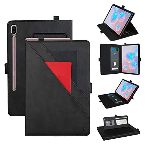 GHC PAD Cases & Covers For Samsung Galaxy Tab S6 10.5 inch SM-T860 SM-T865, Tablet Case Stand Cover Shockproof PU Leather Card Flip Case For Samsung Galaxy Tab S6 10.5 inch 2019 (Color : Black)