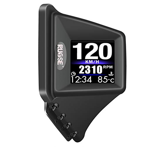Rupse Upgraded Universal HUD Car Heads Up Display Dual System OBD2/GPS,A Pillar Dashboard Install Vehicle Speedometer Engine RPM OverSpeed Warning