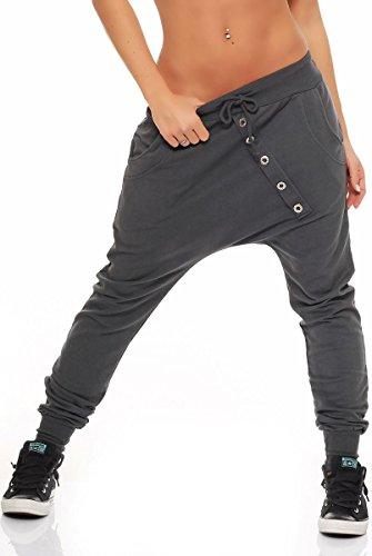 Malito Damen Sweathose in Unifarben | Baggy zum Tanzen | Jogginghose mit Knopfleiste | Sweatpants - Trainingshose 8023 (dunkelgrau)