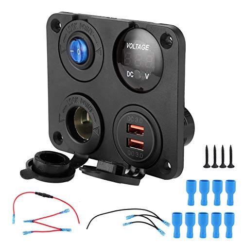 Akozon Panel de interruptores Marinos 12V-24V 4 Agujeros Salida de Cargador USB Dual Voltímetro LED ON Off Interruptor basculante para camión de RV de Coche de Barco de 6‑24 V