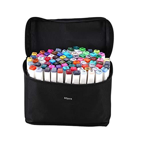 Markeerstiften, set van 80 verschillende kleuren, tekening, manga-stiften, met draagtas, kunst, sketch, grafisch markeerstiften, set