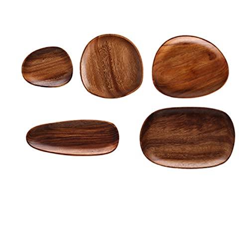 Kitchen Bowl Acacia Irregular Oval Solid Wood Plate, Fruit Plate, Tea Plate, Dessert Plate, Tableware Set (Color : G)