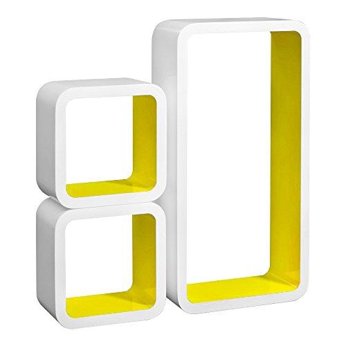 Laneetal Set di 3 Mensole a Cubo da Parete Mensole Colorate Porta Libri a Muro Design Moderno Scaffale retrò per Decora Soggiorno, Giallo 0640011