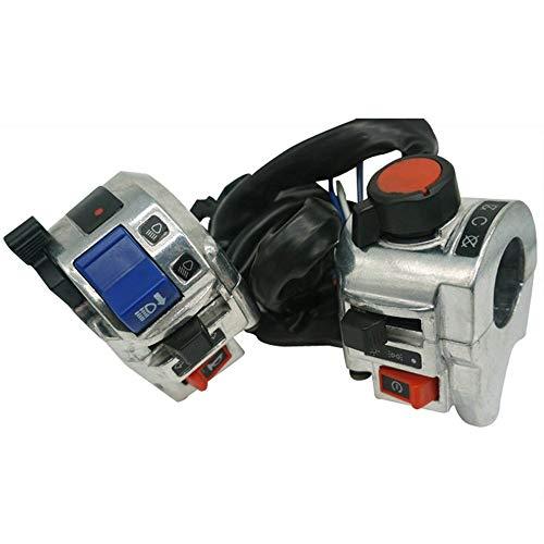 Interruptor del manillar de la motocicleta 22 mm 7/8' con conmutadores manillar de la motocicleta Interruptor eléctrico Asamblea de inicio de muertes del Cuerno luz del faro antiniebla, Fácil de insta