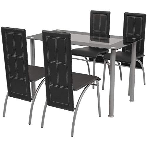 Festnight Sitzgruppe mit 4 stühle | Esstisch Esszimmerstühle Esstischgruppe Essgruppe Esstisch-Set Stuhlset | Kunstleder Glas Stahlrahmen Schwarz/Wei?
