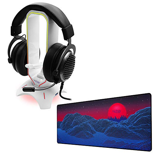 Tilted Nation RGB Headset Stand (White) + Extended Mouse Pad Large Bundle - Enhance Your Gaming - 3 in 1 Gaming Headset Stand with Mouse Bungee and USB Hub - Gaming Mouse Pad (Synth Galaxy Theme)