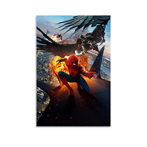 Ghychk Spider-Man Comic Movie Super Hero Light Luxury Oil Painting Modern Home Decor Wall Art for Living Room Bedroom Home Decorations Ready to Hang 12x18inch(30x45cm)