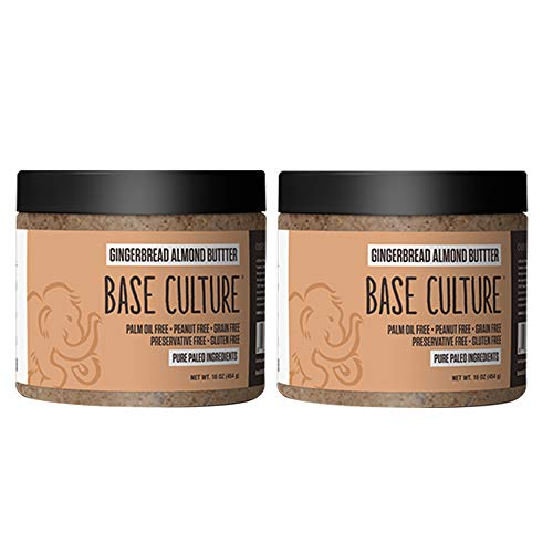 Base Culture Almond Butter | Gingerbread 100% Gluten Free Almond Butter & Paleo Certified 6g Protein Per Serving