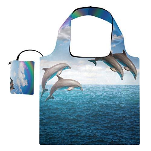 XiangHeFu Totalizadores reutilizables del regalo del supermercado Bolsos de compras de gran capacidad plegables, puente del arco iris que salta delfines