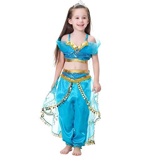Ecparty Girls Princess Jasmine Costume Halloween Party Dress Up (3T, Jasmine Costume - Bule)