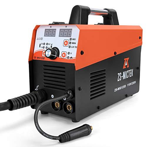 MIG Welder Flux Core IGBT 110/220V MIG125 Gas/Gasless Stick Mig Welding Machine125A Automatic Dual Voltage Air Inverter Welding Machine