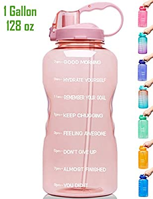 Venture Pal Large 1 Gallon/128 OZ (When Full) Motivational BPA Free Leakproof Water Bottle with Straw & Time Marker Perfect for Fitness Gym Camping Outdoor Sports-Light Pink