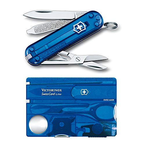 Victorinox Swiss Army SwissCard Lite Pocket Knife Set (Sapphire) with Pocket Knife Bundle (2 Items)