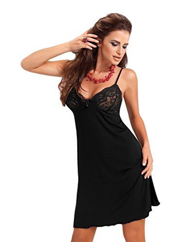 Donna sinnliches und hochwertiges Viskose-Negligee Nachthemd Sleepshirt mit reizvoller Spitzenverzierung und verstellbaren Spaghetti-Trägern, schwarz, Gr. S
