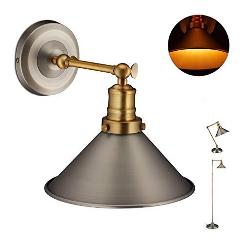 Relaxdays industriële lamp, wandlamp met verstelbare metalen kap, wandlamp, HBT 25 x 21 x 30 cm, messing/grijs