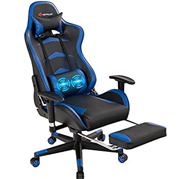 POWERSTONE Massage Gaming Chair with Footrest - Ergonomic Office Computer Game Racing E-Sports Chair Lumbar Massage Pillow Footrest Headrest High-Back Leather Recliner Rolling Swivel Chair Blue