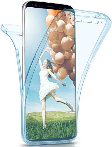 moex Double Hülle für Samsung Galaxy S8 Hülle Silikon Transparent, 360 Grad Full Body R&um-Schutz, Komplett Schutzhülle beidseitig, Handyhülle vorne & hinten - Türkis