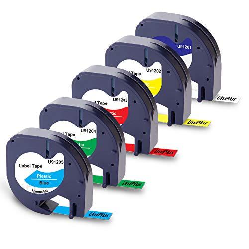 Plus Etichettatrici LT-110T 2000 Plastica Cassetta Nastro per Dymo LetraTag LT-100H 12mm x 4m LT-100T XR QX 50 Printing Pleasure 3x Compatibile 91201 Nero su Bianco XM