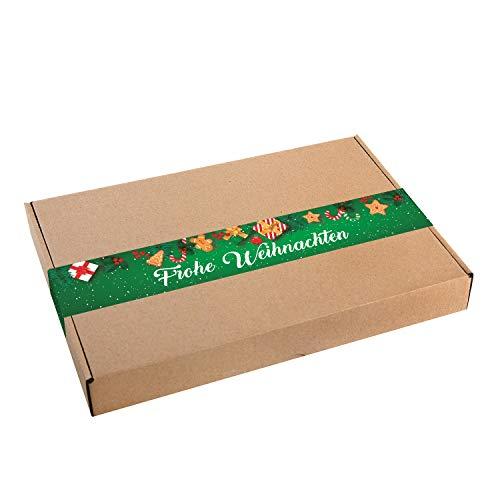 Logboek-uitgeverij kleine kerstdozen geschenkdoos + sticker Frohe Kerstmis groen wit verpakking DHL maxibrief 305 x 220 x 45 mm doos kraftpapier 10 Stück wit