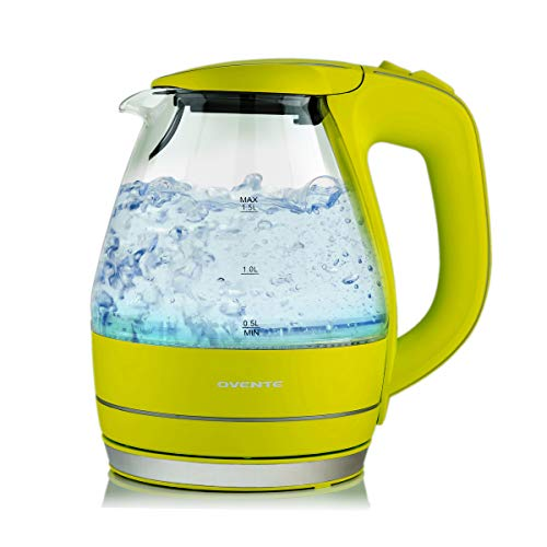 Ovente Hervidor de agua eléctrico de 1.5litros, de vidrio, libre de BPA, sin cable, Verde, Glass 1.5L, 1