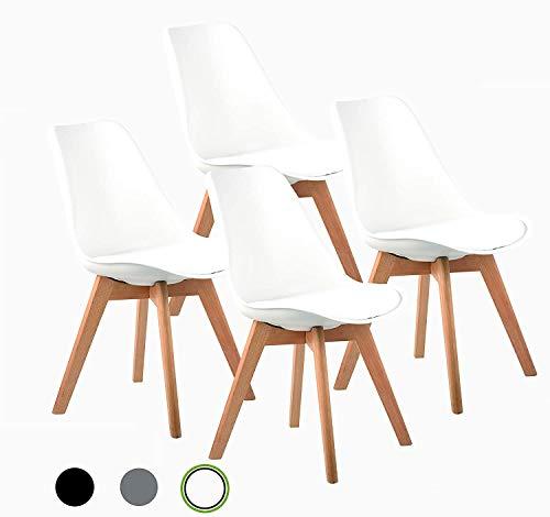 SZHWLKJ Acolchados Sillas de comedor conjunto de 4,Century Classic Moldeado lateral plástico moderno de los mediados comedor silla con las piernas Natural de madera duros,de Altas Prestaciones for Com