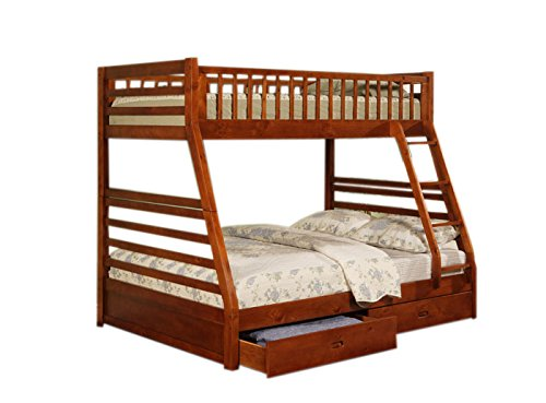 Coaster Twin Full Size Bunk Bed with Storage Drawers, Cherry Finish
