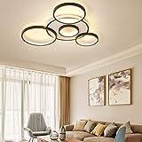 Deckenleuchte LED Dimmbar Deckenlampe Mit Fernbedienung Groß Wohnzimmerlampe Modern Lichtfarbe/Helligkeit Einstellbar Schlafzimmerlampe Esszimmer Küchelampeacryl Metallrahmen Pendelleuchte,5heads