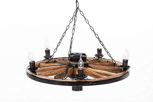 Own Design Tradizionale Rustico Autentico Vintage ▾ di Legno Ruota di carro Lampadario Plafoniera Lampada da soffitto 5 Luce Marrone Scuro Diametro 70 cm
