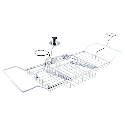 Zerone Bath Tray, European Style Bathtub Caddy and Tray Expandable Bath Tray with Extending Sides Wine Glass Holders and Book Rack, Create Your Own Spa at Home