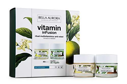 Bella Aurora Pack  Vitamin Infusion Dia Antiedad Piel Mixta 50Ml + Vitamin Infusion Noche 50Ml Bella Aurora 1 Unidad 100 ml, Verde